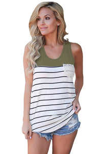 Stylish Striped Green Block Racerback Tank Top