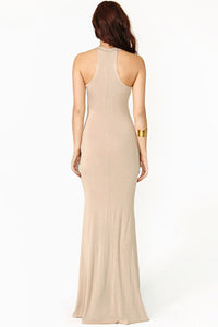 Swerve Halter Two-tone Evening Dress