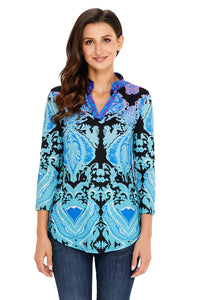 Turquoise Easily Obsessed Damask Print Split V Neck Tunic