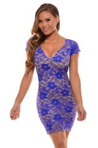 Violet Handmade Lace Cutout Bodycon Dress