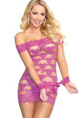 Violet Seamless Strappy Heart Valentine Chemise