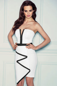 White Bandeau Waterfall Evening Dress