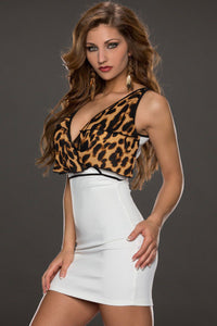 White Bodycon Dress with Flouncing Leopard Top