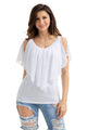 White Cold Shoulder Flutter Top