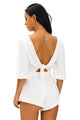 White Drawstring Knot Open Back Romper