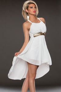 White Elegant Gathering Hi-low Chiffon Party Dress