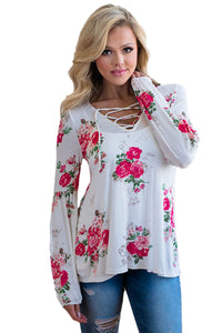 White Floral Criss Cross Long Sleeve Top