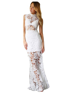 White Floral Lace Hollow Maxi Evening Dress