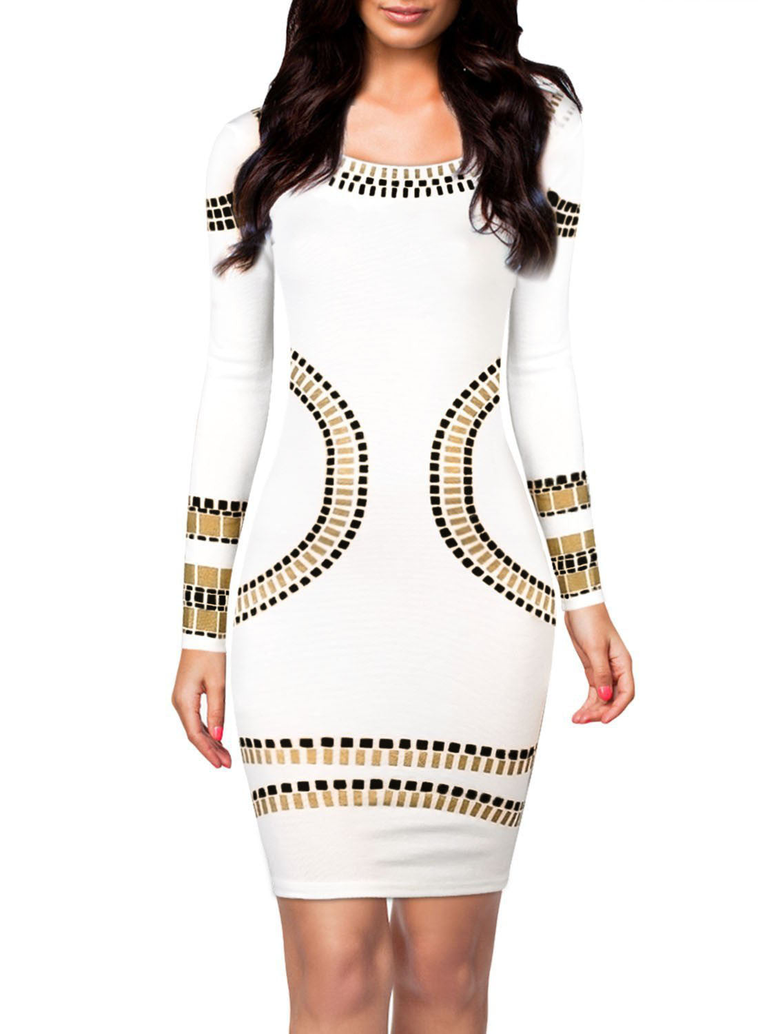8aa982a60c85 White Gold Metallic Trim Long-sleeve Bodycon Dress – SEXY AFFORDABLE ...
