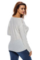 White Knitted Long Sleeve Plunge Jumper