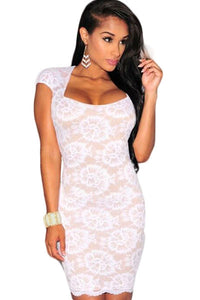 White Lace Nude Illusion Key-Hole Cap Sleeves Dress