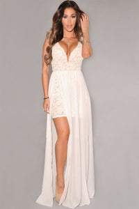 White Lace Plunging Neck Slit Evening Gown
