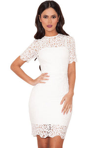 White Lace Short Sleeve Bandage Dress