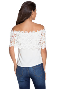 White Lace Spliced Off Shoulder Chiffon Top