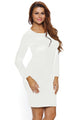 White Lace Up Back Long Sleeve Bodycon Mini Dress