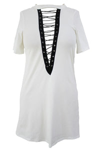 White Lace Up Half Sleeves Tee Dress