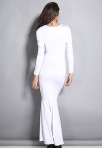 White Mermaid Bodycon Evening Gown