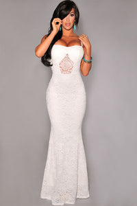 White Mermaid Lace Maxi Evening Gown