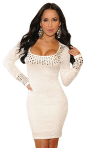 White Pleated Studded Long Sleeves Dress