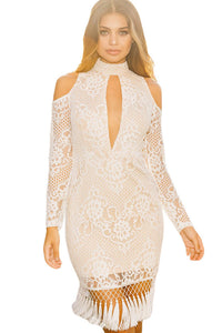 White Premium Lace Tassel Detail Bodycon Dress