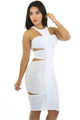 White Ruched Cutout Side Club Dress