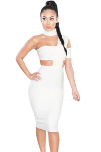 White Sexy Choker Neck Cut out Bandage Party Dress