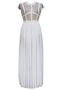 White Sheer Lace Chiffon Evening Dress