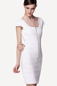 White Square Neck Front-back Full-length Zip Bandage Dress