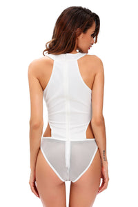 White Studded Racer Back High Cut Bodysuit