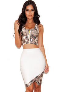 White and Taupe Printed Bandage Two Piece Skirt Set