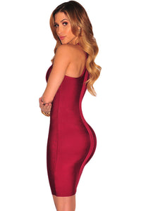 Wine Cut out Bust Racer Back Bandage Dress