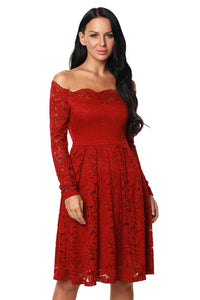 Wine Long Sleeve Floral Lace Boat Neck Cocktail Swing Dress