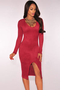 Wine Red Faux Suede Long Sleeves Slit Dress