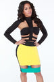 Yellow Black Bold Cutout Club Dress