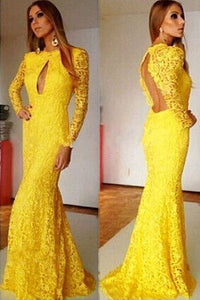 Yellow Floral Lace Sweeping Mermaid Evening Dress
