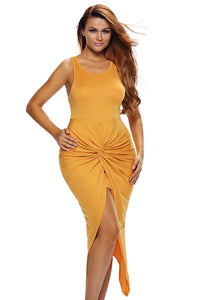 Yellow Knotted Slit Dress
