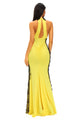 Yellow Peekaboo Halterneck Lace Trim Party Gown