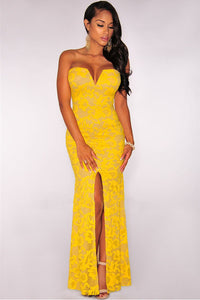 Yellow Plunging Strapless Sexy Slit Gown