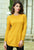 Yellow Stylish Round Neck Knitted Sweater Dress