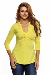 Yellow Twist Front Sleeved V Neck Top