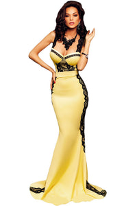 Yellow and Black Lace Sponges Bust Maxi Mermaid Dress