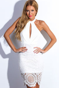 Your Desire White Backless Vintage Dress