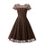 Women's Vintage Short Sleeve Lace Evening Party Swing Dress #Brown SA-BLL36203-3 Fashion Dresses and Skater & Vintage Dresses by Sexy Affordable Clothing