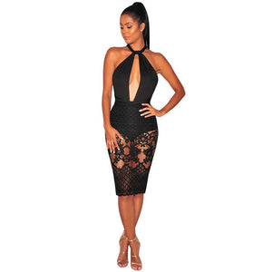 Black Patchwork Lace Hollow-out Sleeveless Elegant Midi Dress #Midi Dress #Black SA-BLL36148-1 Fashion Dresses and Midi Dress by Sexy Affordable Clothing