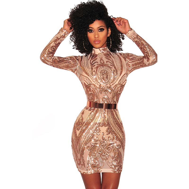 be567a7173e2 High Neck Sequins Club Dress With Long Sleeve #Sequin SA-BLL2595-1 Fashion