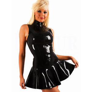 Women's PVC Zip Front Mini Dress Black Clubwear #Black #Clubwear SA-BLL60813 Sexy Clubwear and Club Dresses by Sexy Affordable Clothing