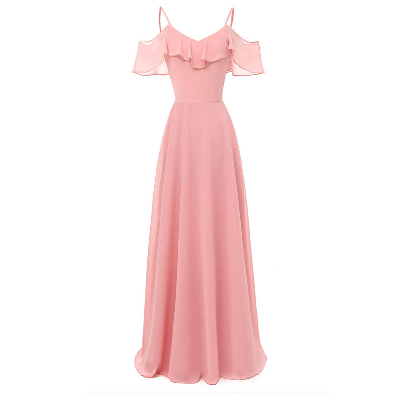 c41787c896d8 Long Flowy Bridesmaid Chiffon Dress #Lace #Chiffon #Bridesmaid SA-BLL51499-1