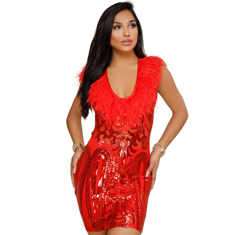 b7479845fd8a Women Sequins Feather Party Cocktail Dress #Red #Sequin SA-BLL27597-2  Fashion
