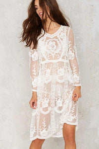 Long Sleeve Floral Lace Midi Dress  SA-BLL38308 Sexy Swimwear and Cover-Ups & Beach Dresses by Sexy Affordable Clothing