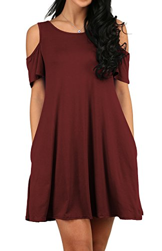 Sexy Women's Cold Shoulder Tunic Top T-shirt Swing Dress With Pockets